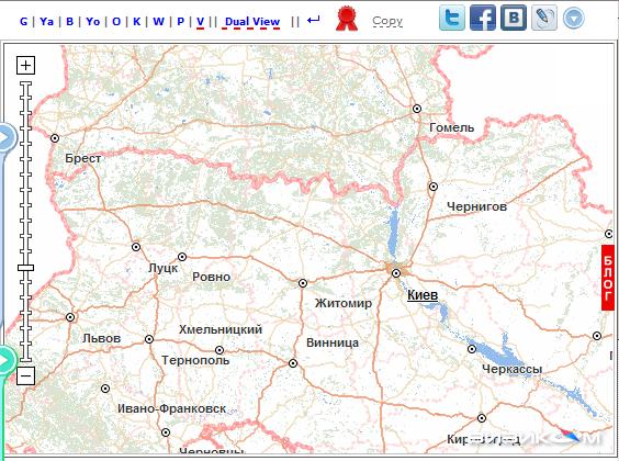 Карта Украины Визиком